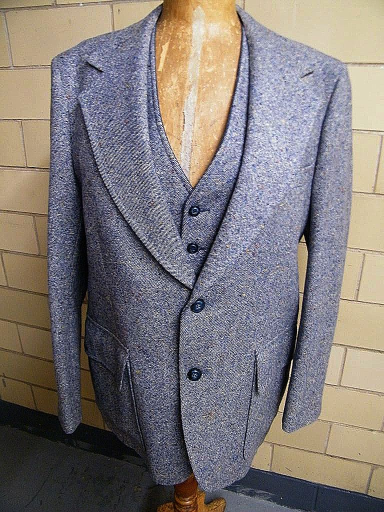 Classic Tweed Men's Sports Coat Jacket With Matching Reversible Vest..Palm Beach..Size 42