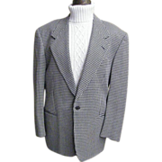 Men's Italian Wool Pique Weave Small Black / White Houndstooth Sports Coat Jacket