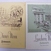 SCHRAFFT'S Menu..Lunch & Dinner..1960-01..Advertising Back..NY Landmark Series..2 Available