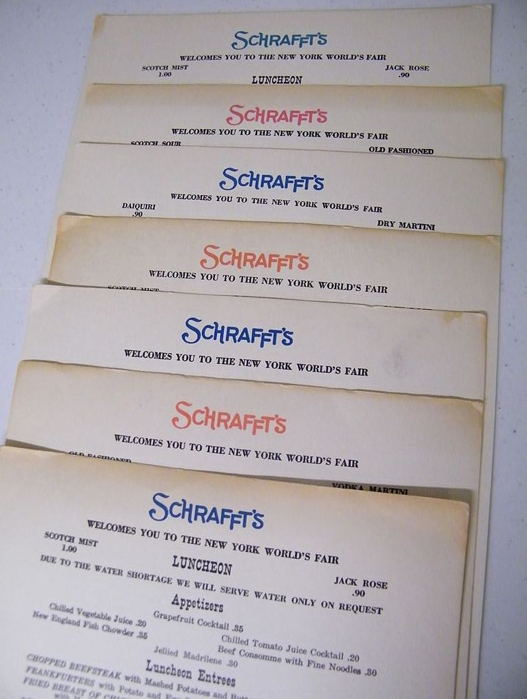 SCHRAFFT'S Long Single Page Luncheon Menu With Advertising.. 1964 & 1965...6 Assorted Available