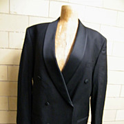 Men's 2 Piece Black Wool Tuxedo Suit With Suspenders..Studio Milano..Italy..Super 100's Australian Merino..43R