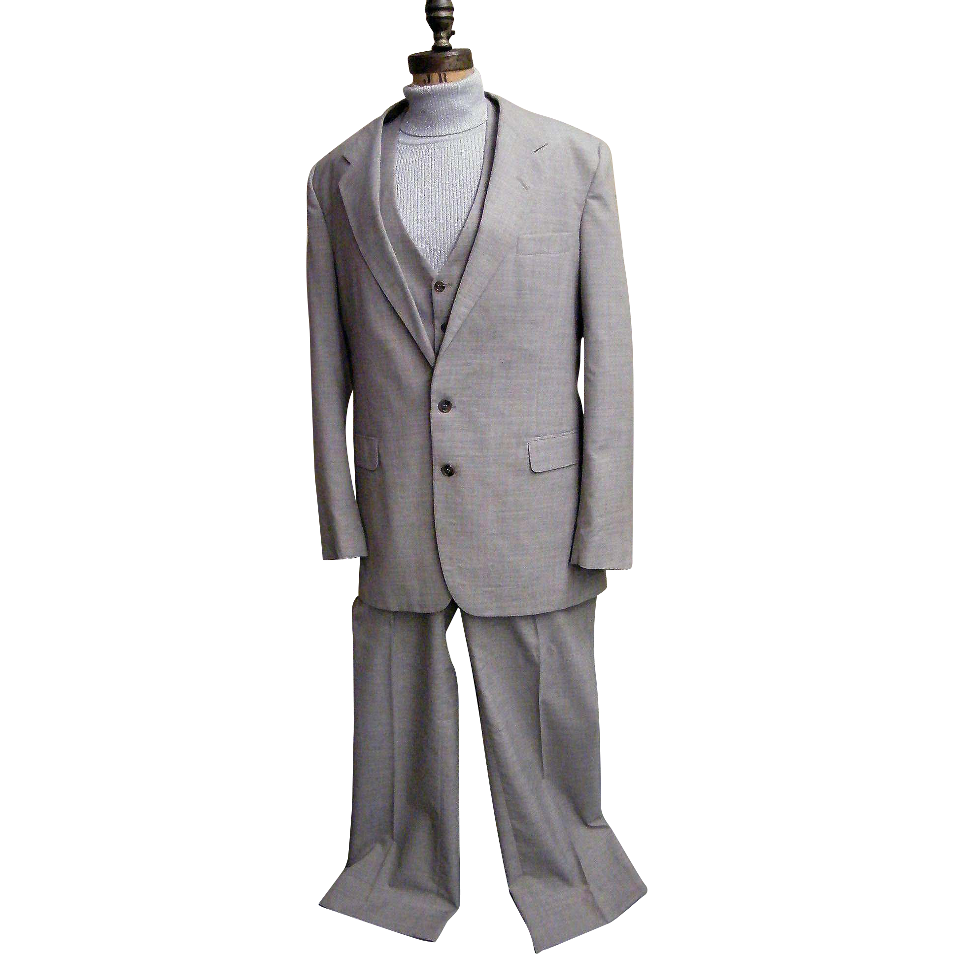 Men's 3 Piece Wool / Polyester Woven Suit..Light Beige Ground With Pale Blue Fine Line Tattersol Checks In Pale Turquoise & Wine...NWT..Sergio Valente..Size 46L..1970's