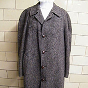 Men's Winter Coat...Tweed..Gray/ Black/Rust..Cardinal Clothes Canada.1970's.