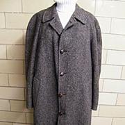 Men's Winter Coat...Tweed..Gray/ Black/Rust..Cardinal Clothes Canada.1970's.