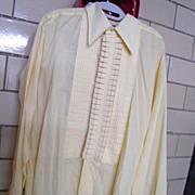 "Men's Fancy Pale Yellow Tuxedo Shirt..16.5""..Poly/Cotton...Size Large"