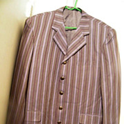 Men's Striped Sports Jacket Silk-Like Striped..Heather Gray Ground With Dk Wine & Lavender Stripes..Size 44R
