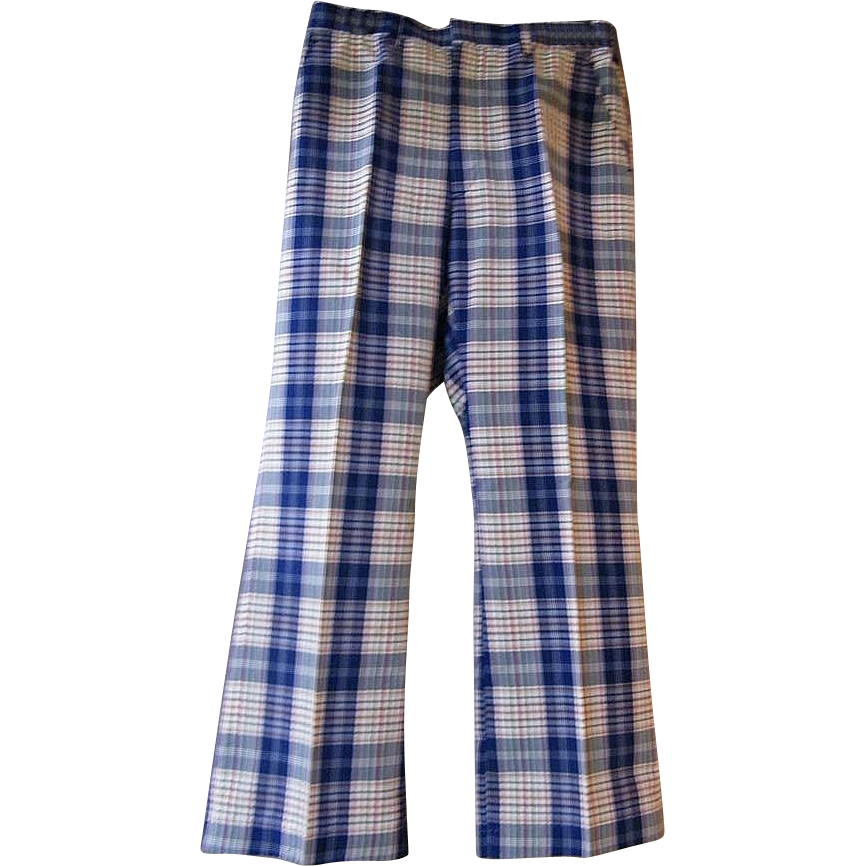 Men's Blue / White Plaid Cotton / Polyester Slacks..Madras Look..1970's..Haggar..Size 34..Excellent Condition!