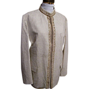 Men's NEHRU Jacket..Sports Jacket..Dress Jacket..Natural Color..Textured..Embroidery..Size 40..1960's-70's