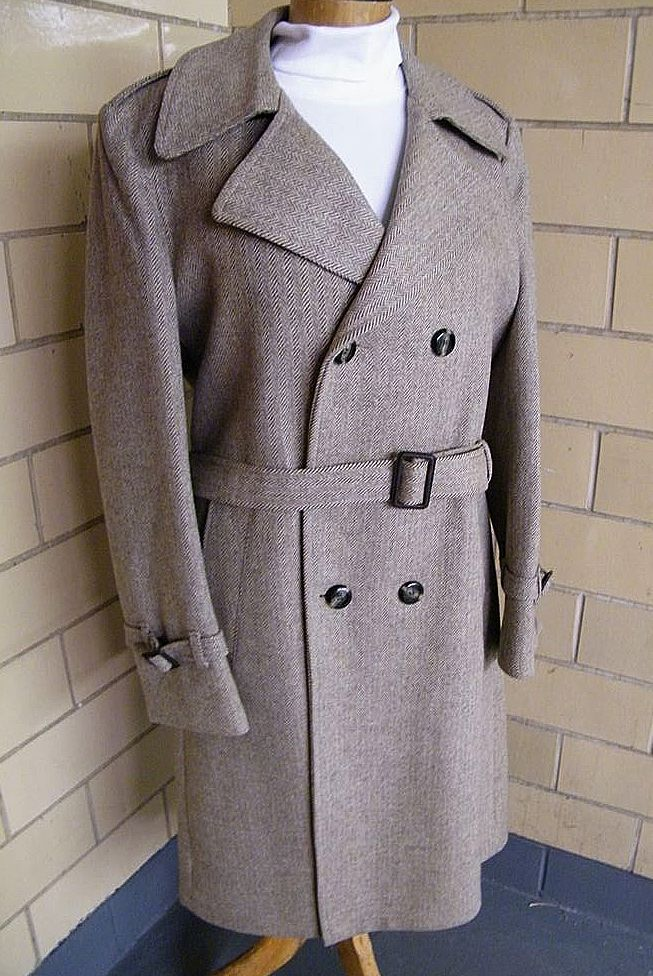 John Weitz Double Breasted Belted Winter Overcoat / Topcoat By Casual Craft ...Size 42R