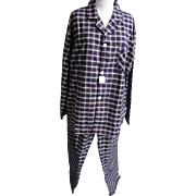 Vintage Bill Blass Oxford Weave Cotton And Polyester Tartan Plaid Pajamas Size XL..Never Worn