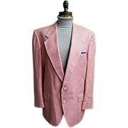 Men's Pink Silk Herringbone Weave Sports Jacket..1960's-60's..Dale Alan..
