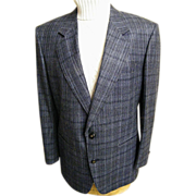 Men's Sport Coat / Jacket...Navy Silk / Wood Plaid..Le Baron..Size 42-S..Excellent Condition