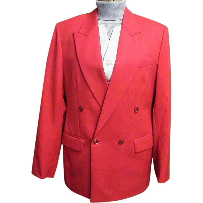 Men's Red Double Breasted Blazer & Coordinating White Vest..Fine Line Twill Weave..New Condition