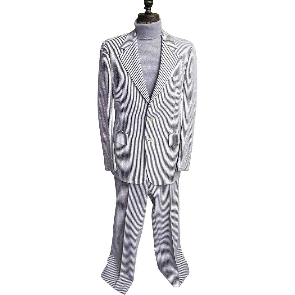 Men's Seersucker Suit..Brown / White Stripe..Arnell / Cotton Blend..1960's - 1970's