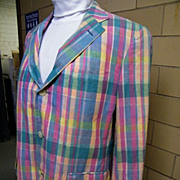 Men's Madras Sports Jacket Coat..Rose & Aqua & Yellow Cotton Plaid