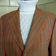 Men's 1950's - 60's Rust & Gray Striped Sports Jacket..Wool Blend..Size 42R