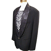 Men's..Black Silk Tuxedo Jacket With Sequin Shawl Collar...IM International Male...Excellent Condition! - Red Tag Sale Item