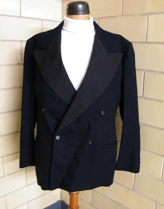 1940's Men's Black Wool Tuxedo Suit..Wide Faille Lapels..Pants Novelty Satin Stripe..Mack &Greisman Canal Street NYC