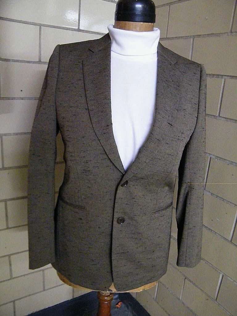 Men's HILTON Dress Jacket Custom Tailored..Wool Iridescent Gold With Black Slub..Small..Excellent Condition