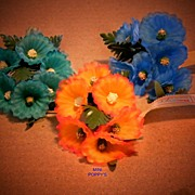 Vintage Mini Poppy..Made In Germany EAST...Millinery Flower...3 Colors...9 Availablr