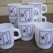 Fire King..# 1  First Federal Savings And Loan   Mugs..Set / 4 Pieces..New Condition..2 Sets Available