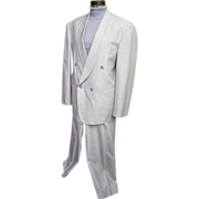 Bespoke Men's Fine Linen & Silk Shawl Collar Tuxedo Suit..Pale Beige..Excellent Condition