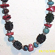 "Artisan Dark Green Carved Jade Pagoda & Coral Chips & Turquoise Rondels...26.5"" Necklace"