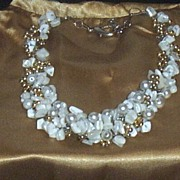 Artisan Collar Necklace With Crochet Wire & MOP..Pearls..& Gold Plated Beads..Delicate!