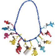 Plastic Charm Necklace..1980's..Turquoise Chain..Assorted Charms & Colors..1980's.