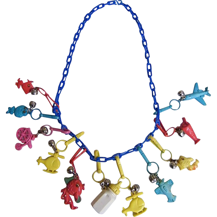 plastic charm necklace 1980 s turquoise chain assorted