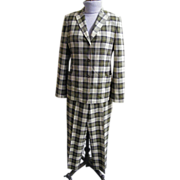1960's-1970's Men's Italian Leisure Suit..Neutral Plaid Light Weight Wool..Luciano Barbera..Made In Italy..Size 42
