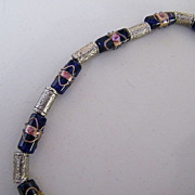 "Italian Murano Glass Wedding Bead Necklace..Navy Beads..Barrel Shaped..Silver Accents..19"" Long"