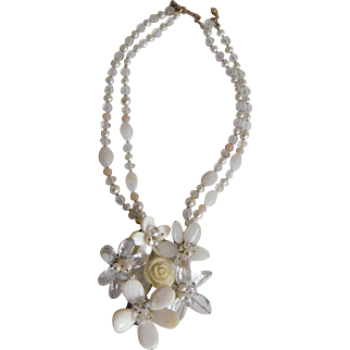 "Floral Face Drop Choker Of Mother Of Pearl, Lucite, Glass Crystals And Small Pearls...18"" Long"