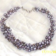 Artisan..Crochet  Wire Collar Necklace Layered Of Pearls..Shades Of Dusty Violet With Brass Accent..ABSOLUTELY!!!