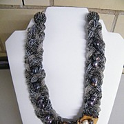 Braided Torsade Necklace With Gray & Clear  Seed Beads & Wood Flower Pendant With Cultured  Pearls..Artisan