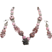 "PINK CONFECTION...Necklace & Earring Set..Pink With Crystal Accents..Beads..20"" / 3"" Long"