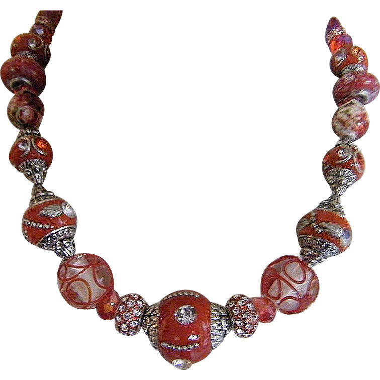 Eastern Delight In Reds... Necklace & Drop Earring Set..One Of A Kind!
