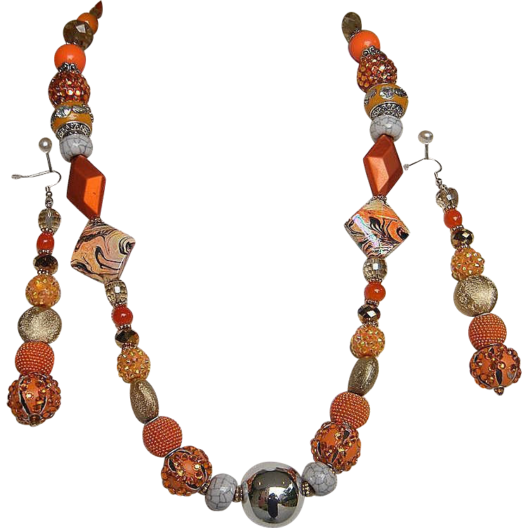 "ORANGE SPICE..Necklace & Drop Earring Set..Bead Assortment of Glass..Metal..Pottery..Enamel..&..Lucite..26"" Necklace / 3.5"" Long"
