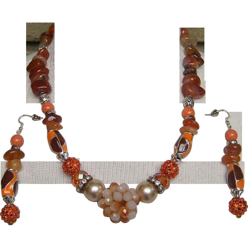 INDIAN SPICE..Necklace & Drop Earring Set..Mix Of Carnelian..Enamel..Glass..Faux Pearl..Rhinestone..Metal..& Plastic..ONE OF A KIND