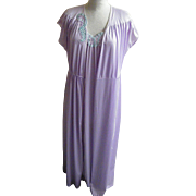 Vintage Nightgown Robe Set Lavender Nylon Tricot Applique Size Small