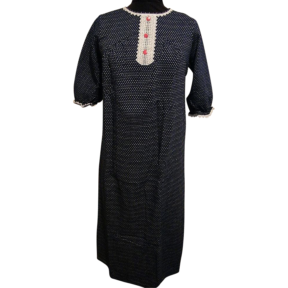 Hollywood Vassarette Navy Cotton Knit Dotted Swiss Nightgown..1950's..NOS..Small