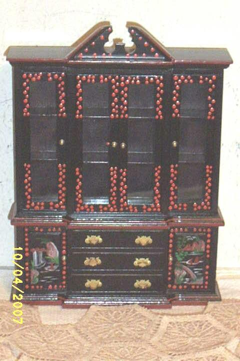Oriental Hand Painted Wood China Cabinet / Breakfront..Glass Doors..  Drawers Open..Black