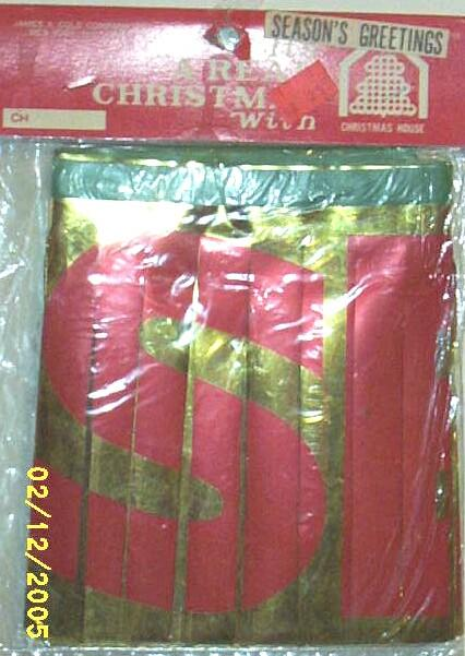 Seasons Greetings Banner..Japan..James A. Cole Co. Inc..A Christmas House...5 Available