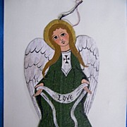 "Hand Painted On Canvas Celtic Medieval Irish Angel Ornament..7""x3.5"""
