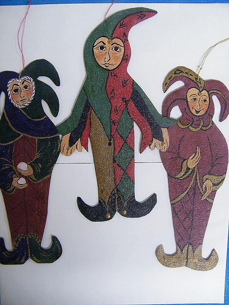 "Medieval..COURT JESTER Ornaments..Set /3..Hand-Painted On Canvas..8""x3"""
