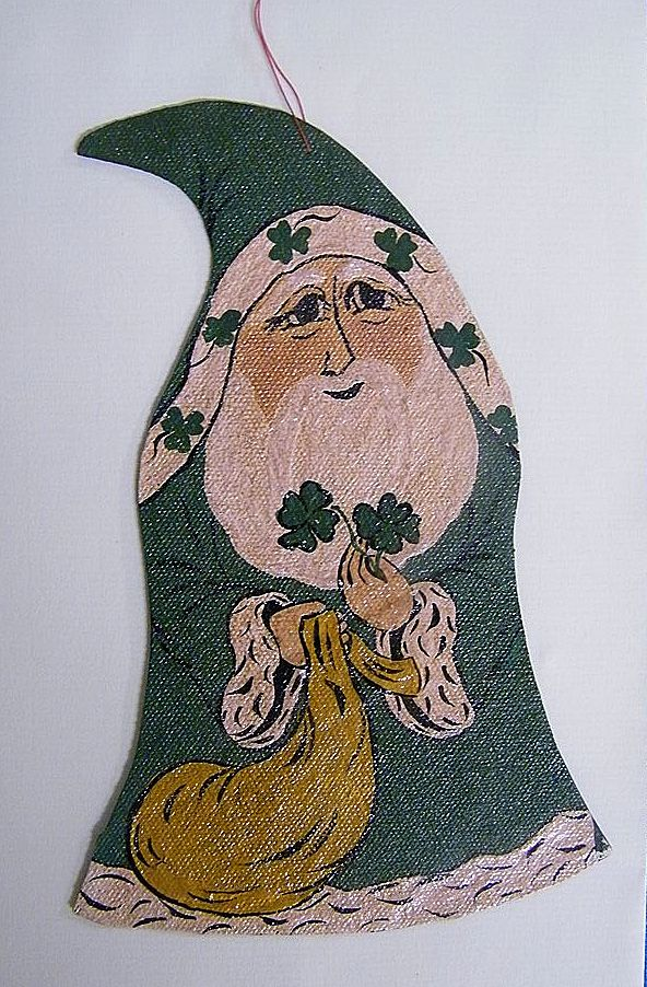 "Irish Leprechaun Ornament...Shamrock..Pot Of Gold...Hand-Painted On Canvas..Medieval..7""x4.5"""