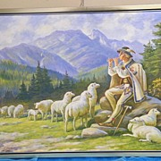 Oil Painting Of A Polish Shepard Tending His Flock Of Sheep...Dressed In Traditional Polish Costume.