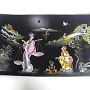 Japanese Painting Scenic..2 Women & Bridge..Black Cardboard..One Of 5