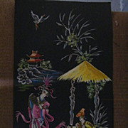 Japanese Painting On Black Cardboard..Scenic..Man & Woman..One Of 5