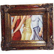 Torso Of 3 Women..Oil Painting..Signed..Wood Frame